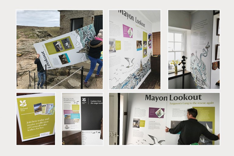 graphic, panels, fabrication, Mayon Lookout, Sennen, Cornwall, Cliffs, Blue skies, sea, ocean view, ferguson gang
