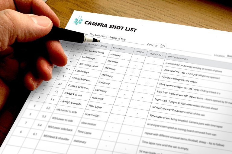 pencil and paper, shot list ready for video production