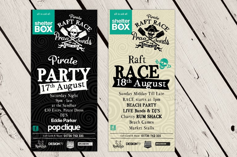 Praa Sands Pirate Raft Race promotional items, Design79 Cornwall