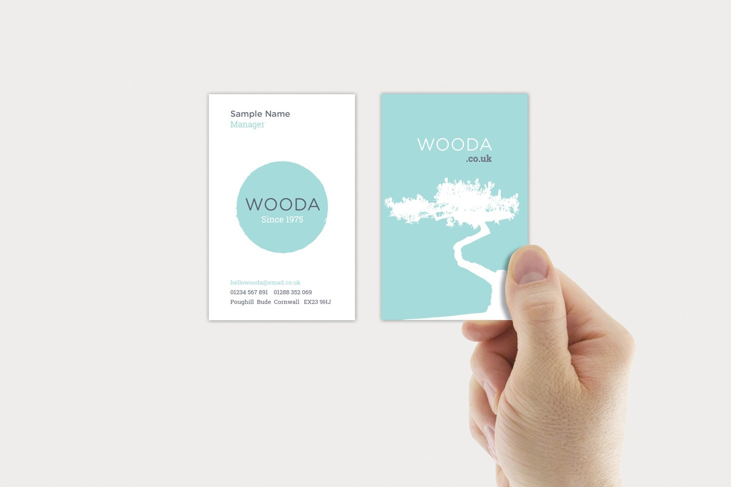business card, visual, blue, white tree, Wooda Brand, Tree