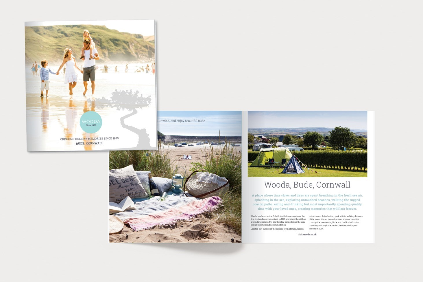 print, visual, holiday, photography, open page, Wooda brand, soft colour, family, beach, Cornwall