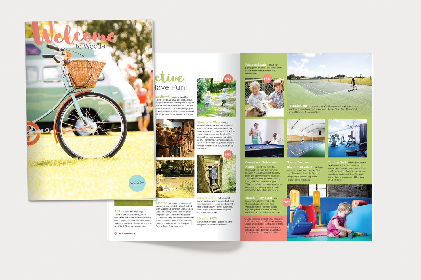 Open page, visual, print, family, holiday, beach, Cornwall, Wooda, Branding, copy