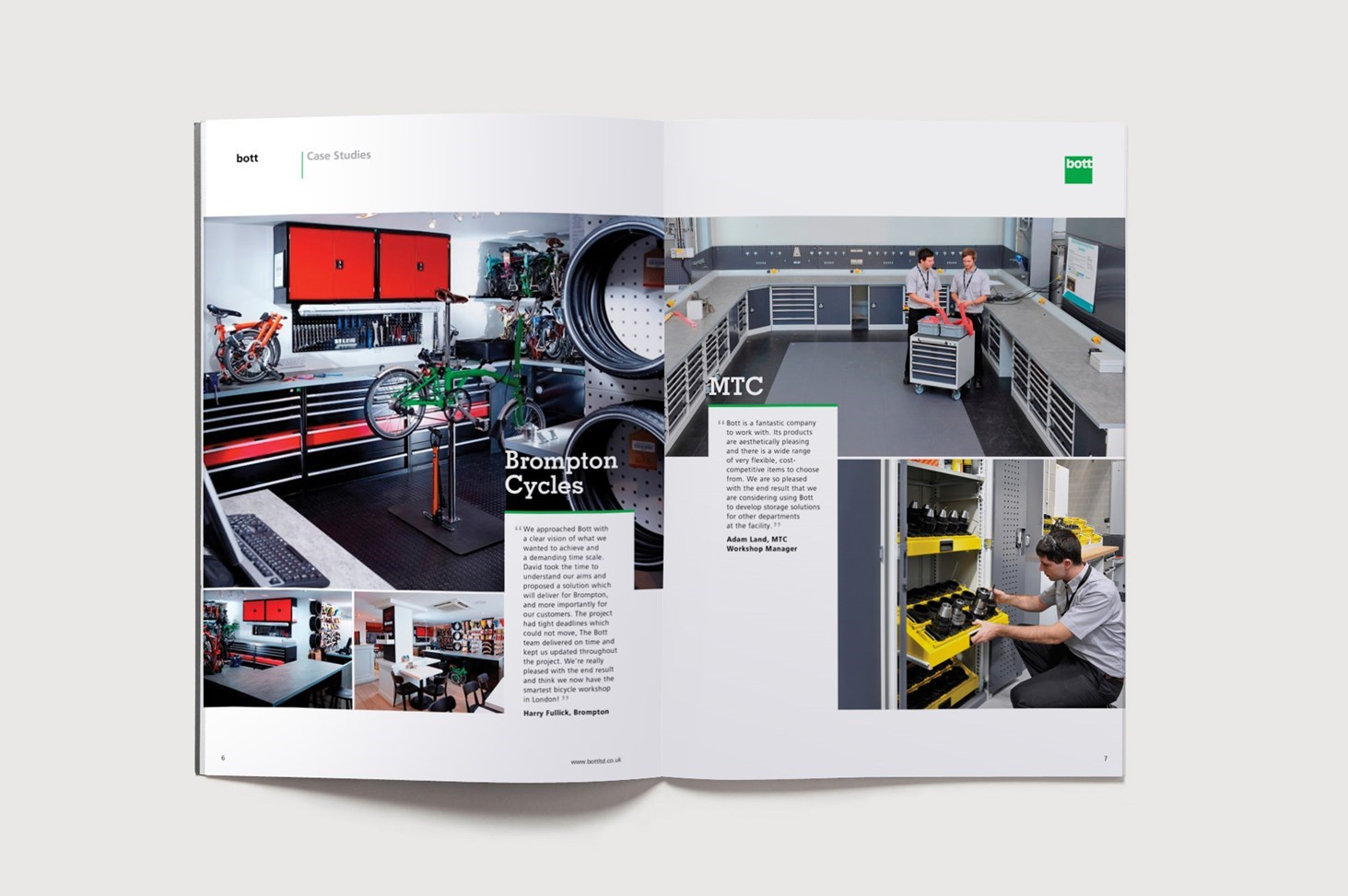 Case studies spread from the Bott catalogue