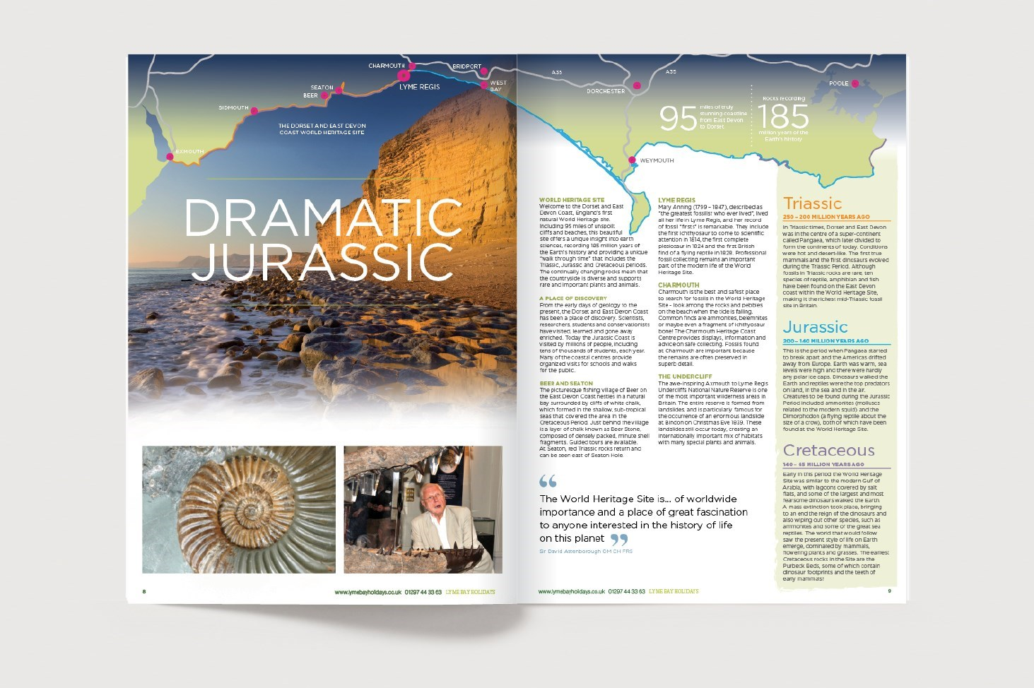 Visual of a spread for the Lyme Bay Holidays Brochure