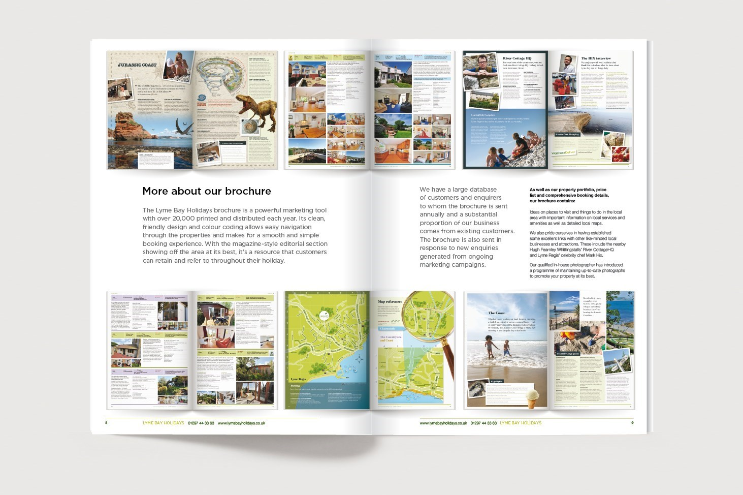 Inside spread for the Lyme Bay Holidays owners information