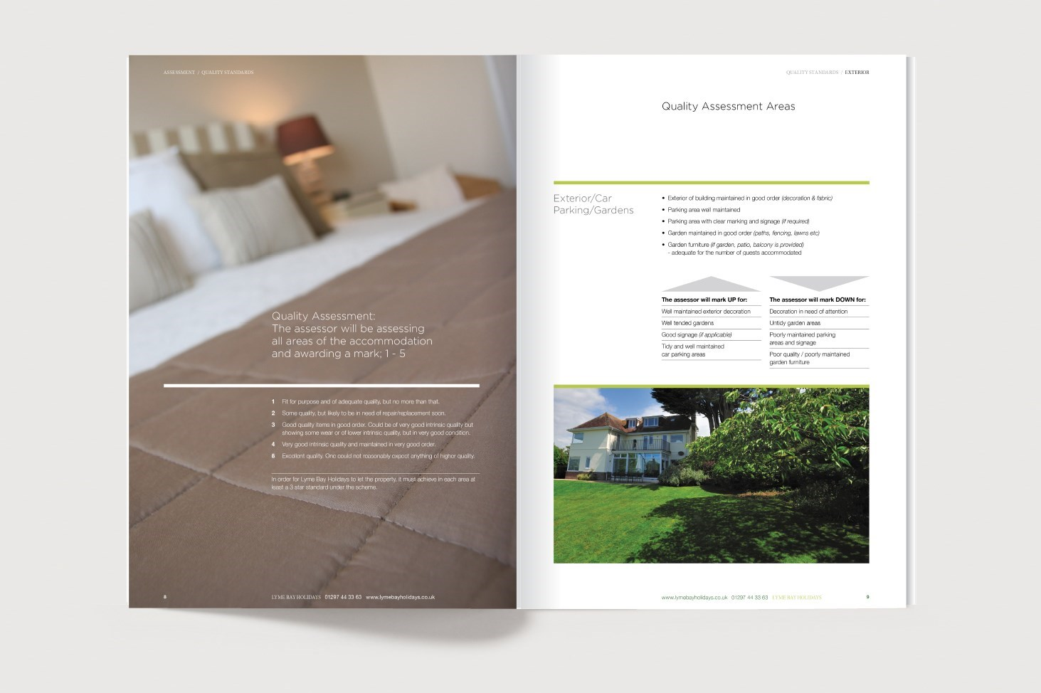 Inside spread for the Brand Guidelines for Lyme Bay Holidays
