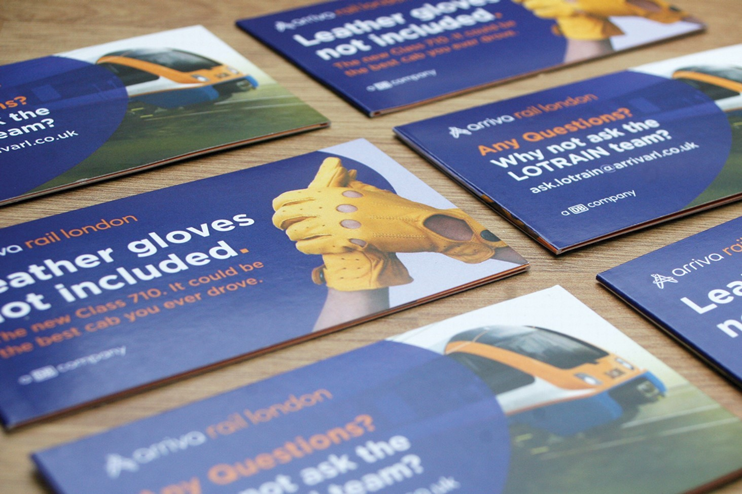 yellow gloves, prints, leaflets, blue, Arriva, logo, drivers, railway, rail, trains. London, Cornwall