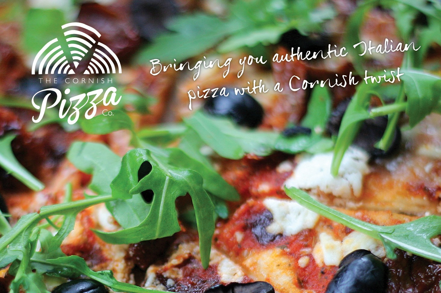 Image of Cornish Pizza Company St Agnes Cornwall fresh Pizza and Logo