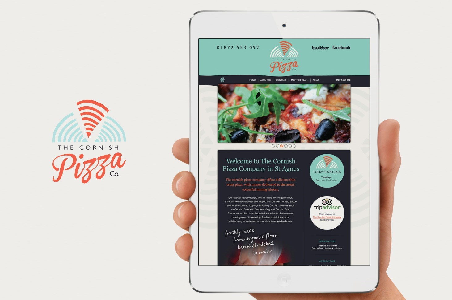 Example of Cornish Pizza Company responcive website design