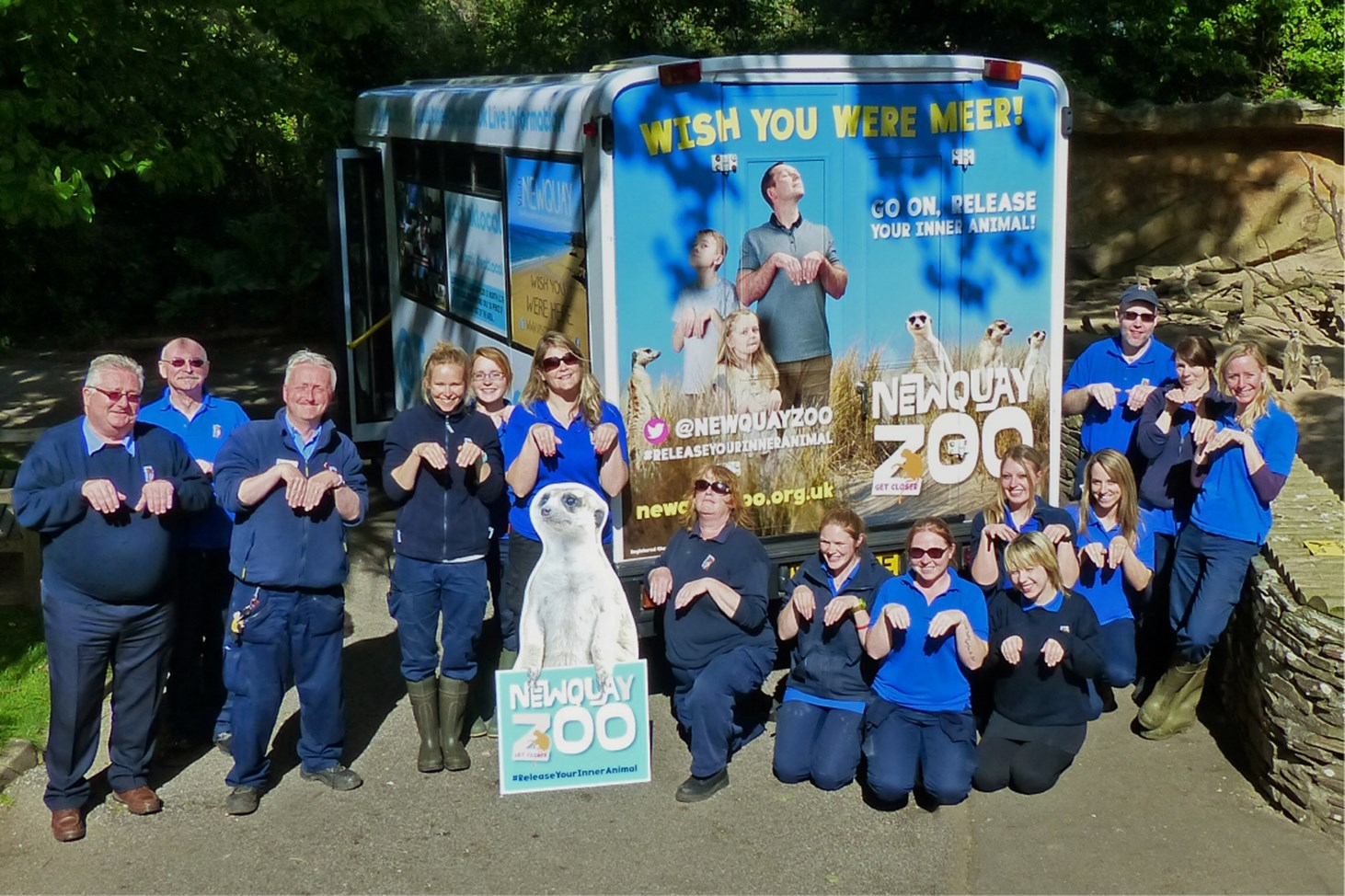 Photo of the Zoo team with the Tweet Bus