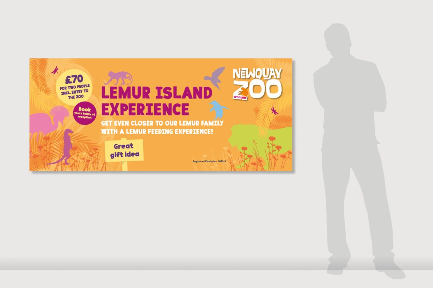 Banner advertising the Lemur Experience for use within the Zoo grounds