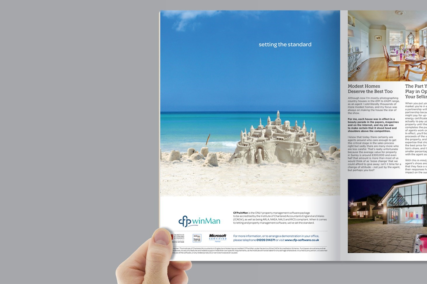 CFP Property lettings software, sand castle, blue skies and clear water, beach