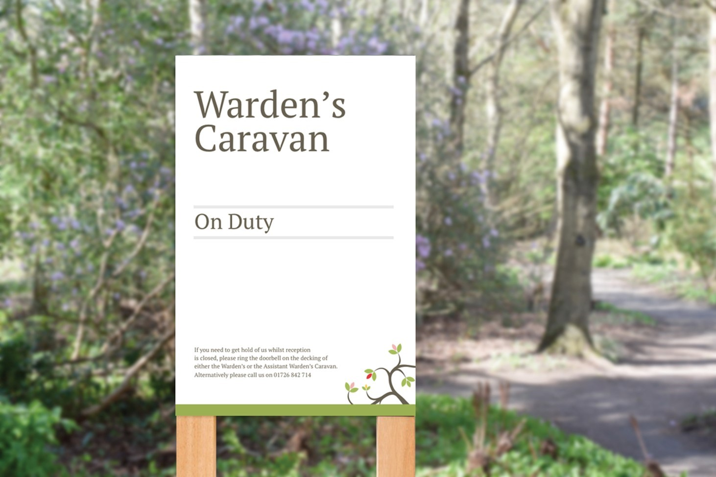 Heligan, camping and caravan, signs, signage, Wardens, green, design, Print, Cornwall, Design79