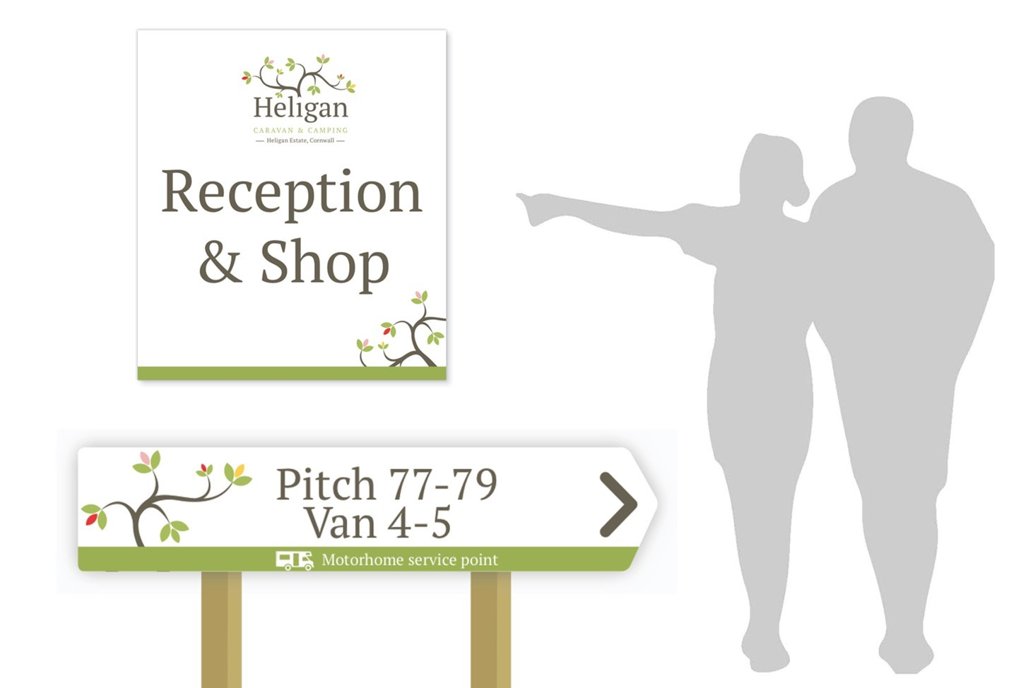 Heligan, camping and caravan, signs, signage, reception, green, design, Print, Cornwall, Design79, silhouettes