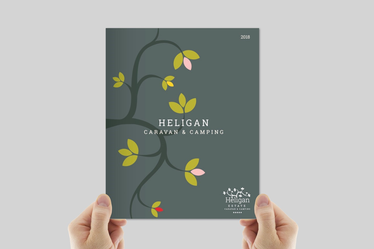 Heligan, camping and caravan, brochure, tree, green, design, Print, Cornwall, Design79, silhouettes, logo, booklet, graphic design