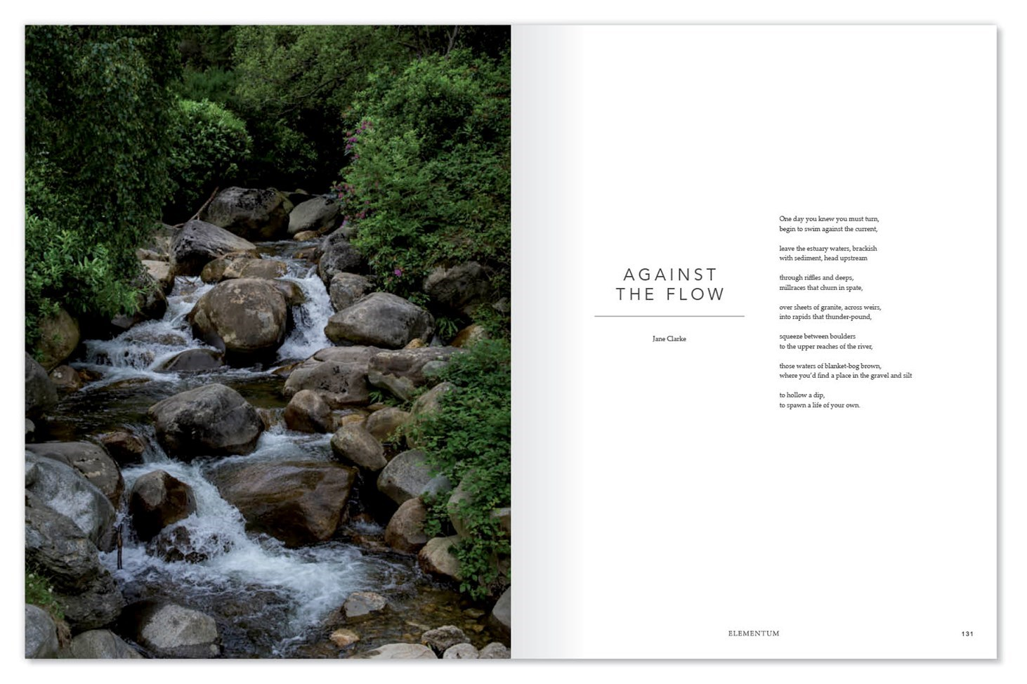 Elementum, design, print, publication, magazine, nature, clean, presentation, layout, Design79, Against the flow, river, stream, green, Cornwall