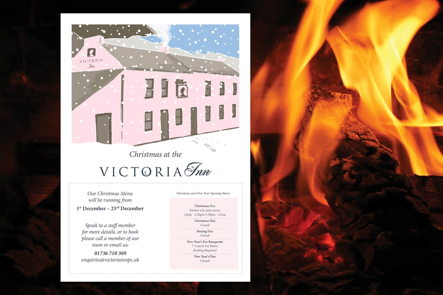 Victoria Inn, Gastro pub in Perranuthnoe, Cornwall, showing new branding by Design79 for Christmas party menus