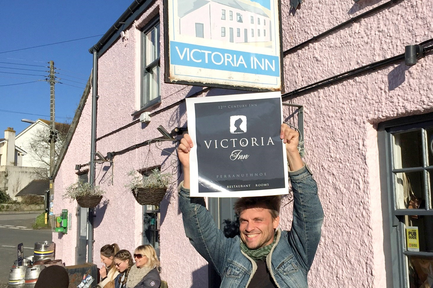 Victoria Inn, Gastro pub in Perranuthnoe, Cornwall,  showing old and new signs with branding by Design79.